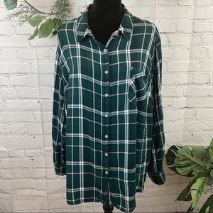 Ava & Viv plus size green plain flannel shirt